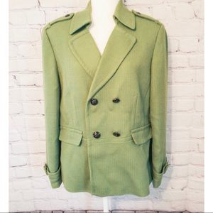 Tahari Green Double Breasted Wool Blazer Jacket